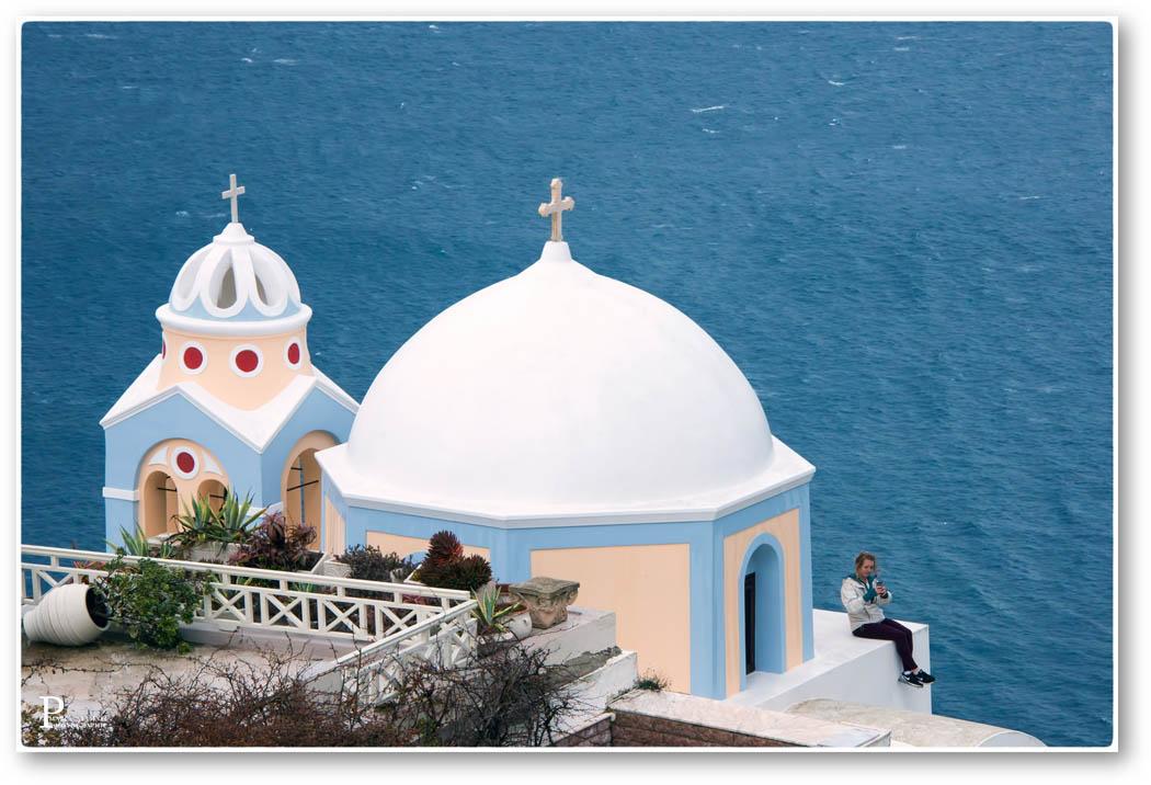 Fira île de Santorin, mer bleues