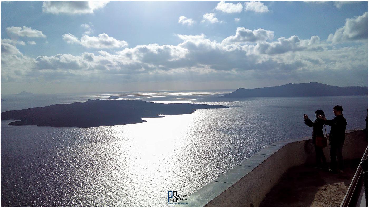 Coucher de soleil sur la caldeira de Santorin